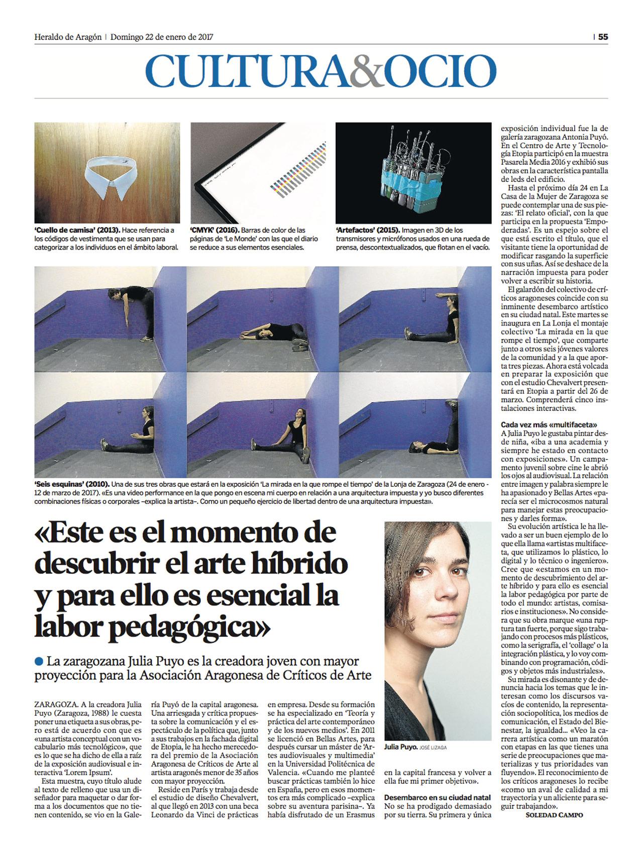 Heraldo De Aragón Julia Puyo premio AACA Soledad Campo