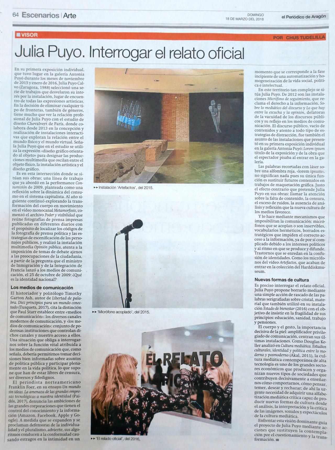 El Periódico de Aragón Visor Chus Tudelilla Julia Puyo