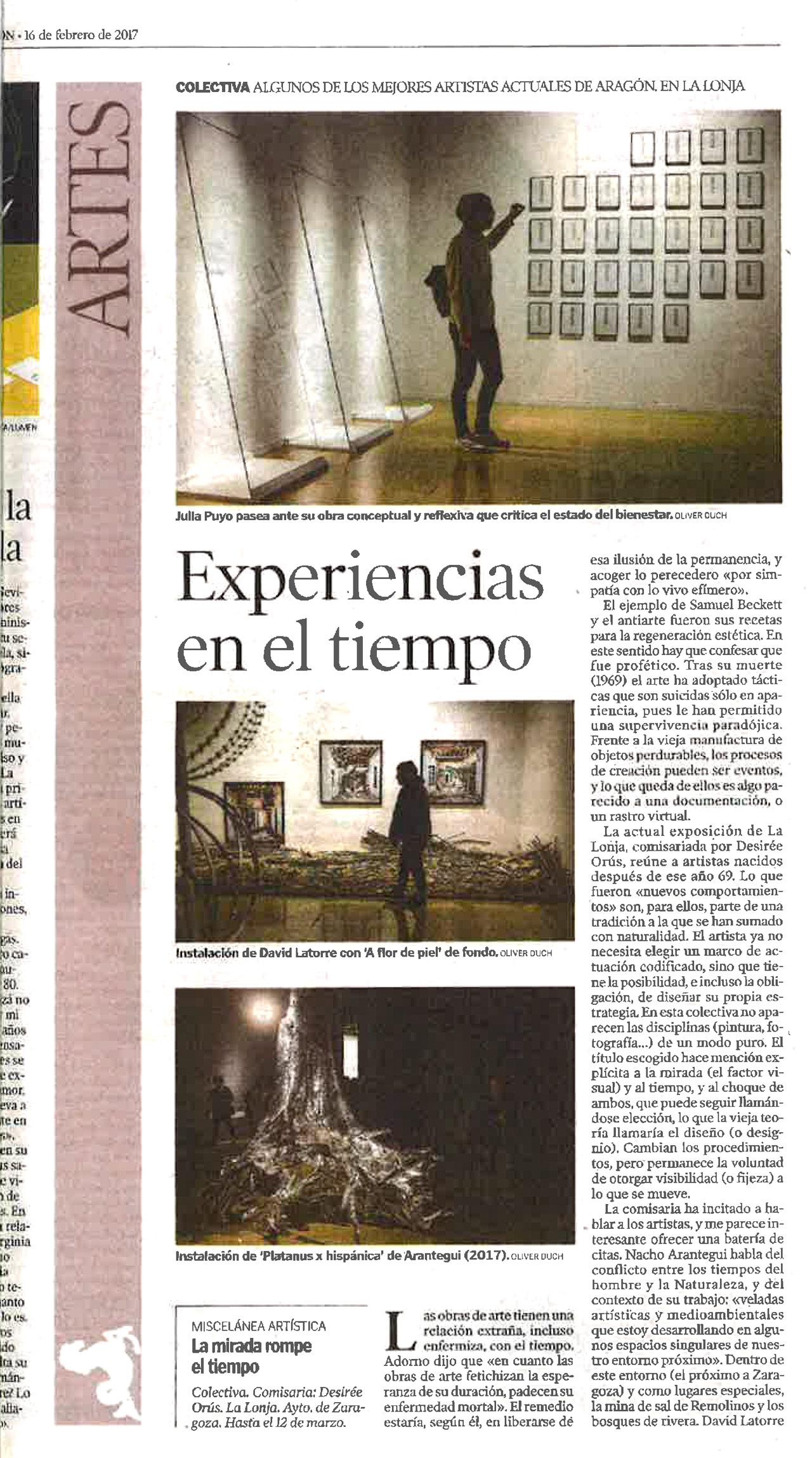 Heraldo De Aragón Julia Puyo exposición la Lonja